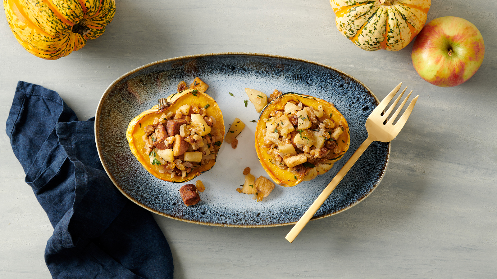 Carnival Squash With Apple Walnut Stuffing