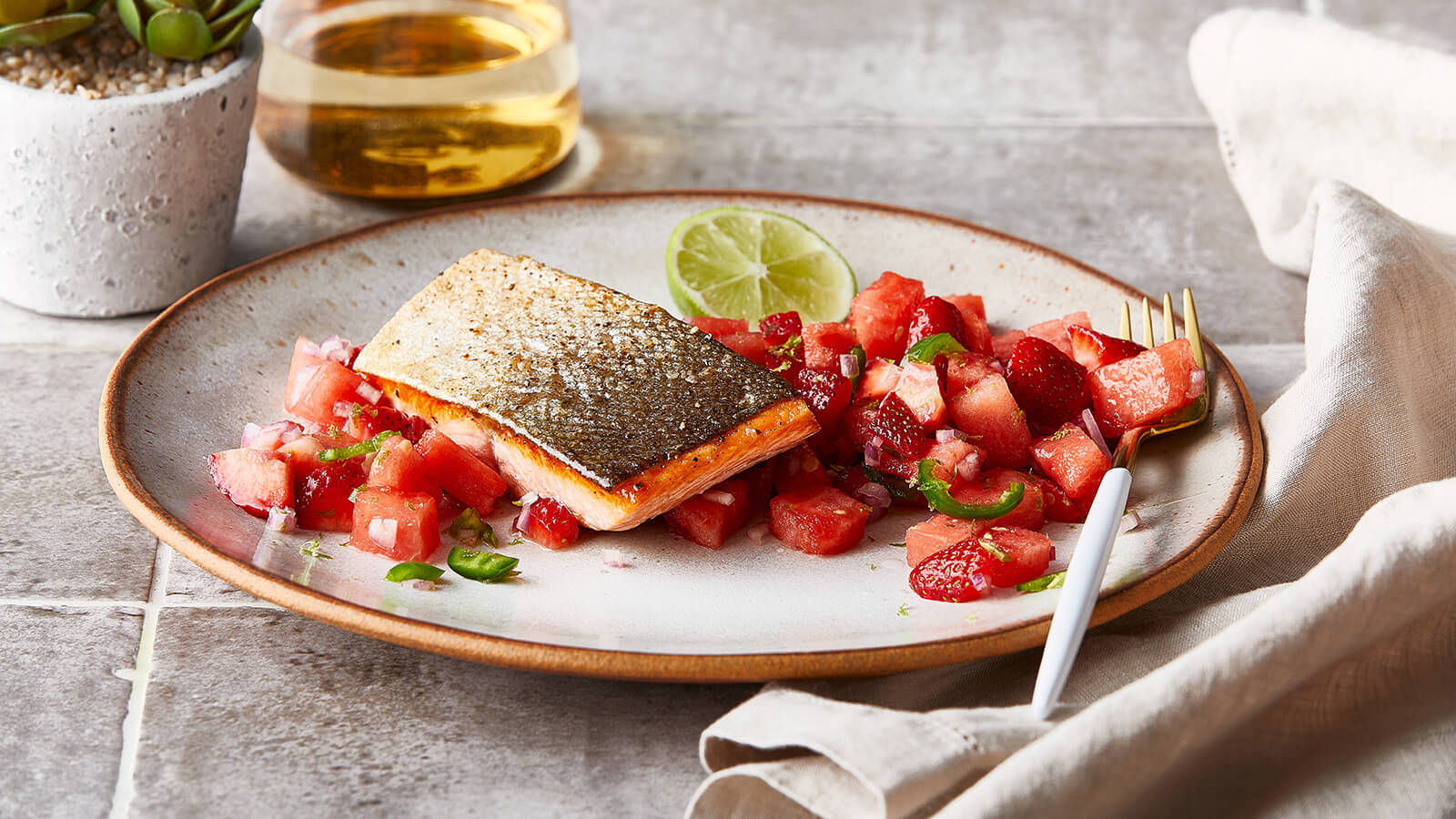 Crispy Skin Salmon with Spicy Watermelon and Berry Salsa