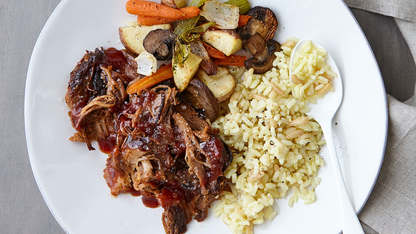 Slow-Cooker-Pulled-Pork-Barbecue-with-Roasted-Vegetables-and-Rice-Pilaf-LBM
