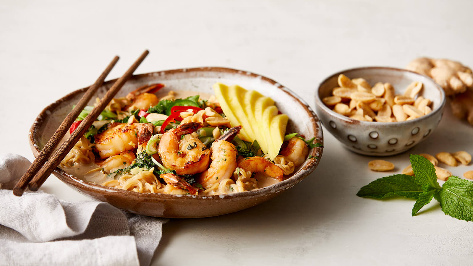 Spicy Shrimp Noodle Bowls with Mango and Herbs