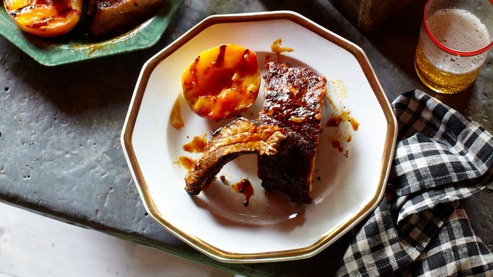 Baby Back Ribs with Grilled Peaches