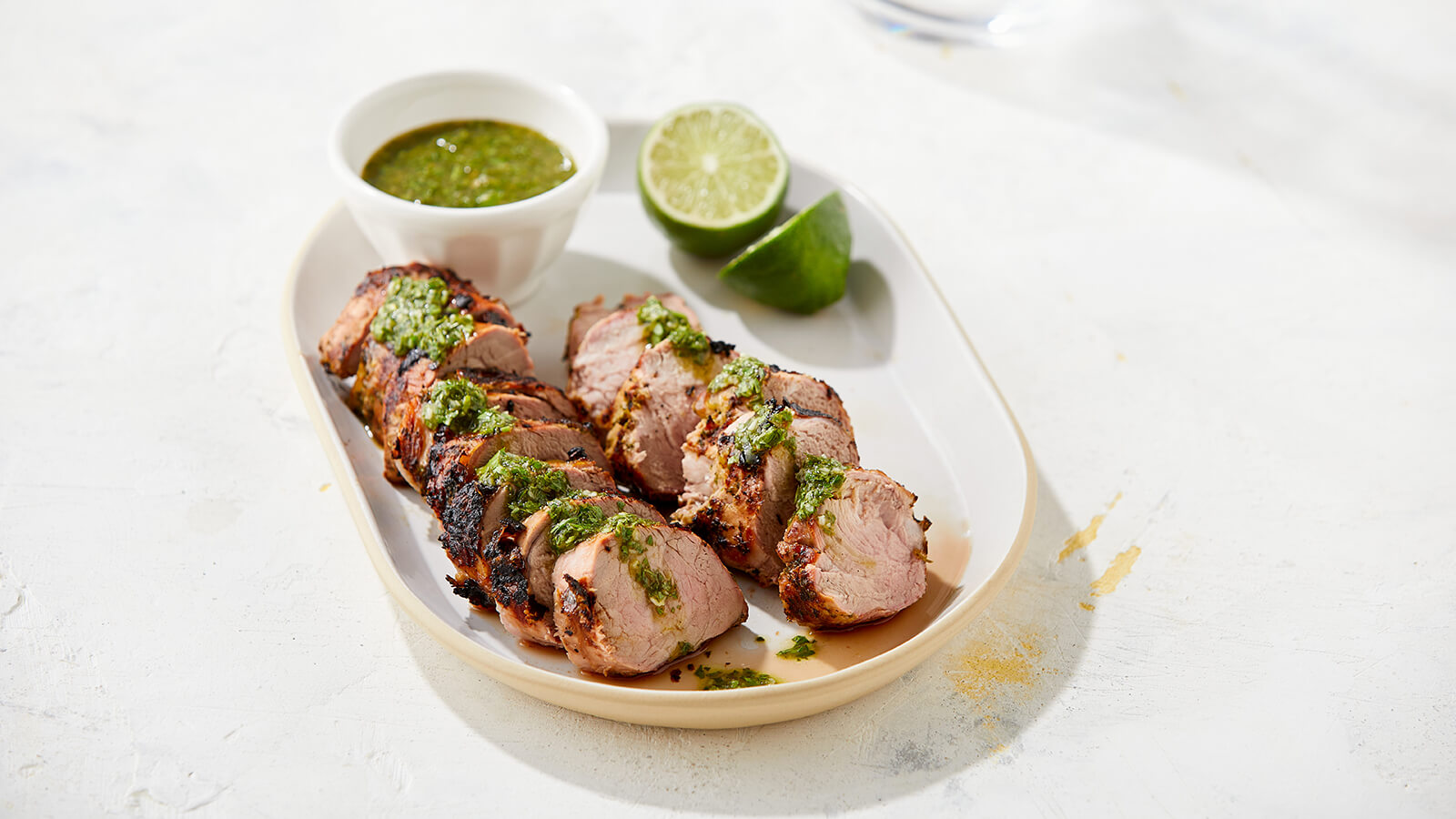 Grilled pork tenderloin with verde chimichurri recipe