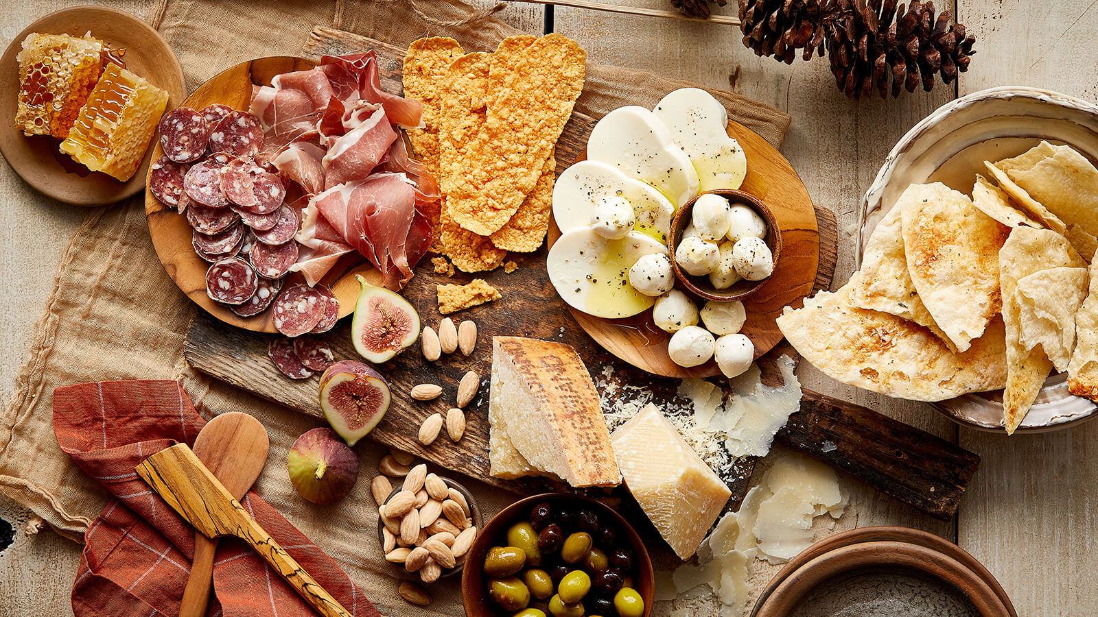 Imported Charcuterie with cheese, nuts, and honey