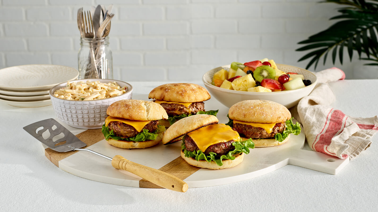 The Fresh Market Gourmet Burgers with Deli Salad and Fruit