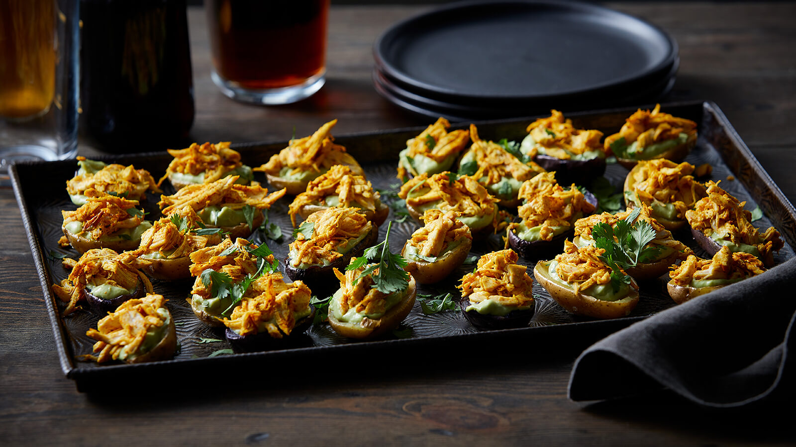 Vindaloo Chicken and Guacamole Potato Skins