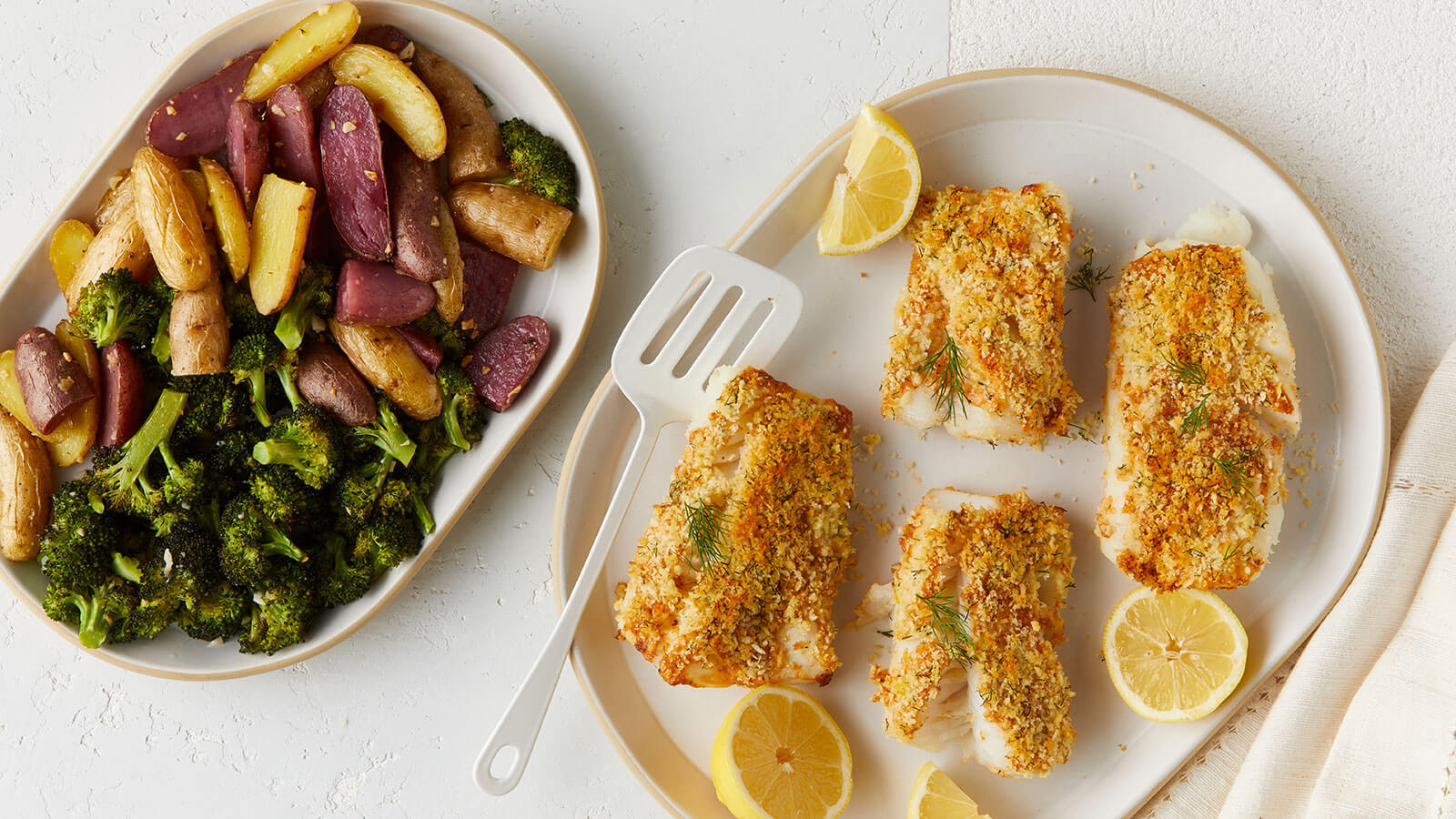Panko Crusted Everything Cod with Garlic Roasted Broccoli and Potatoes
