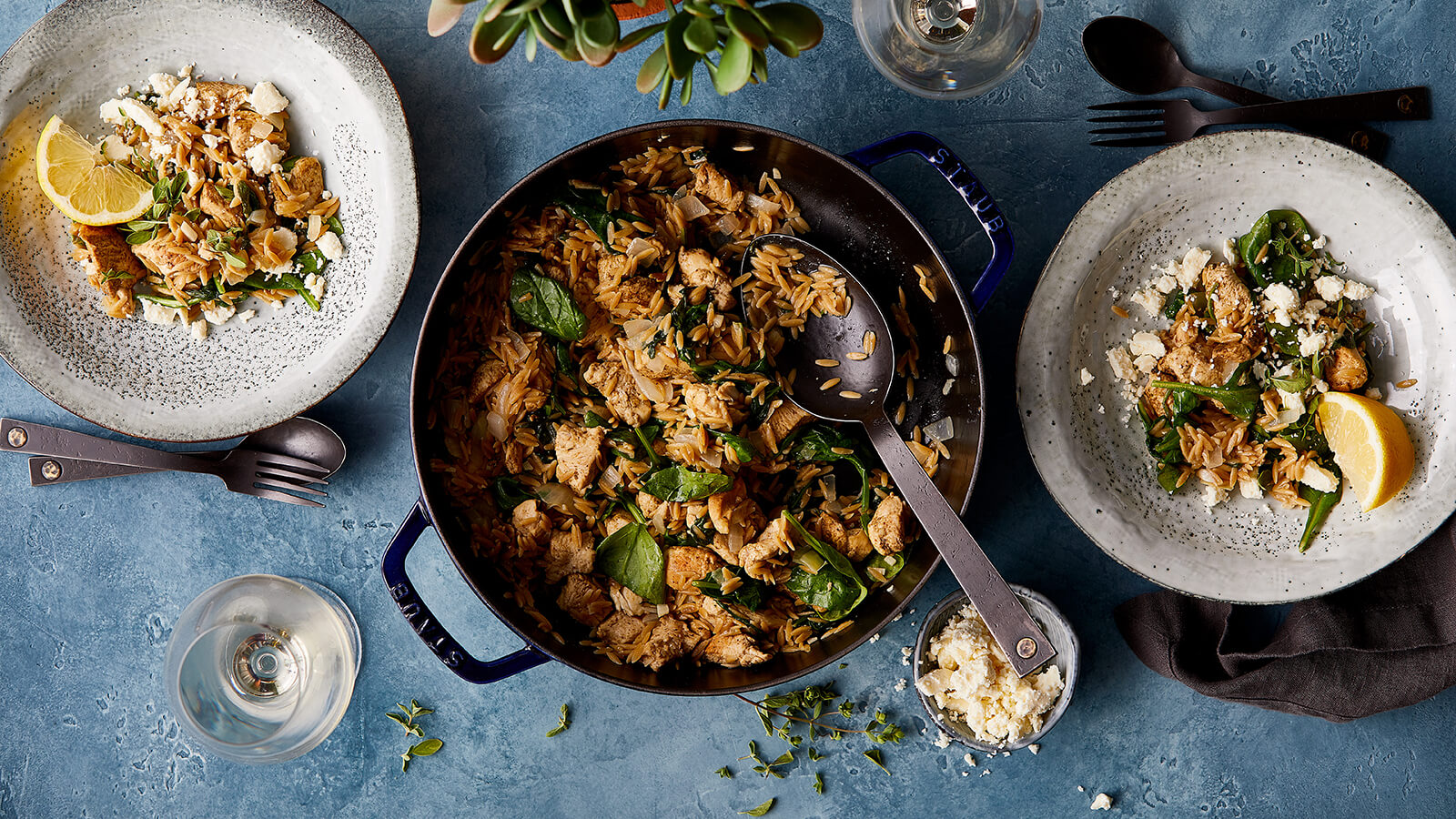One-Pot Mediterranean Chicken with Orzo with Spinach