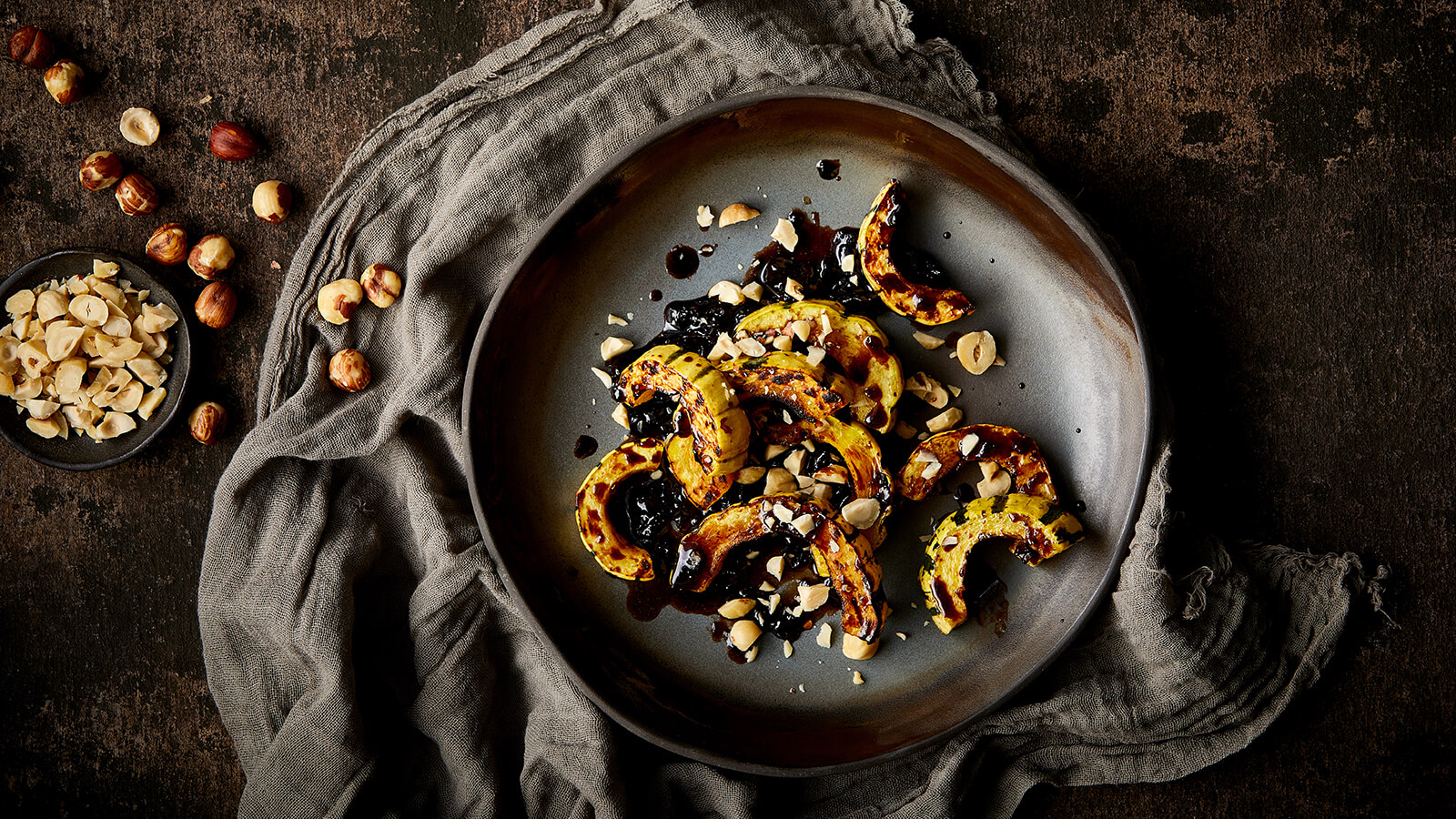 Roasted Fall Squash with Cherry Balsamic Agrodolce and Hazelnuts