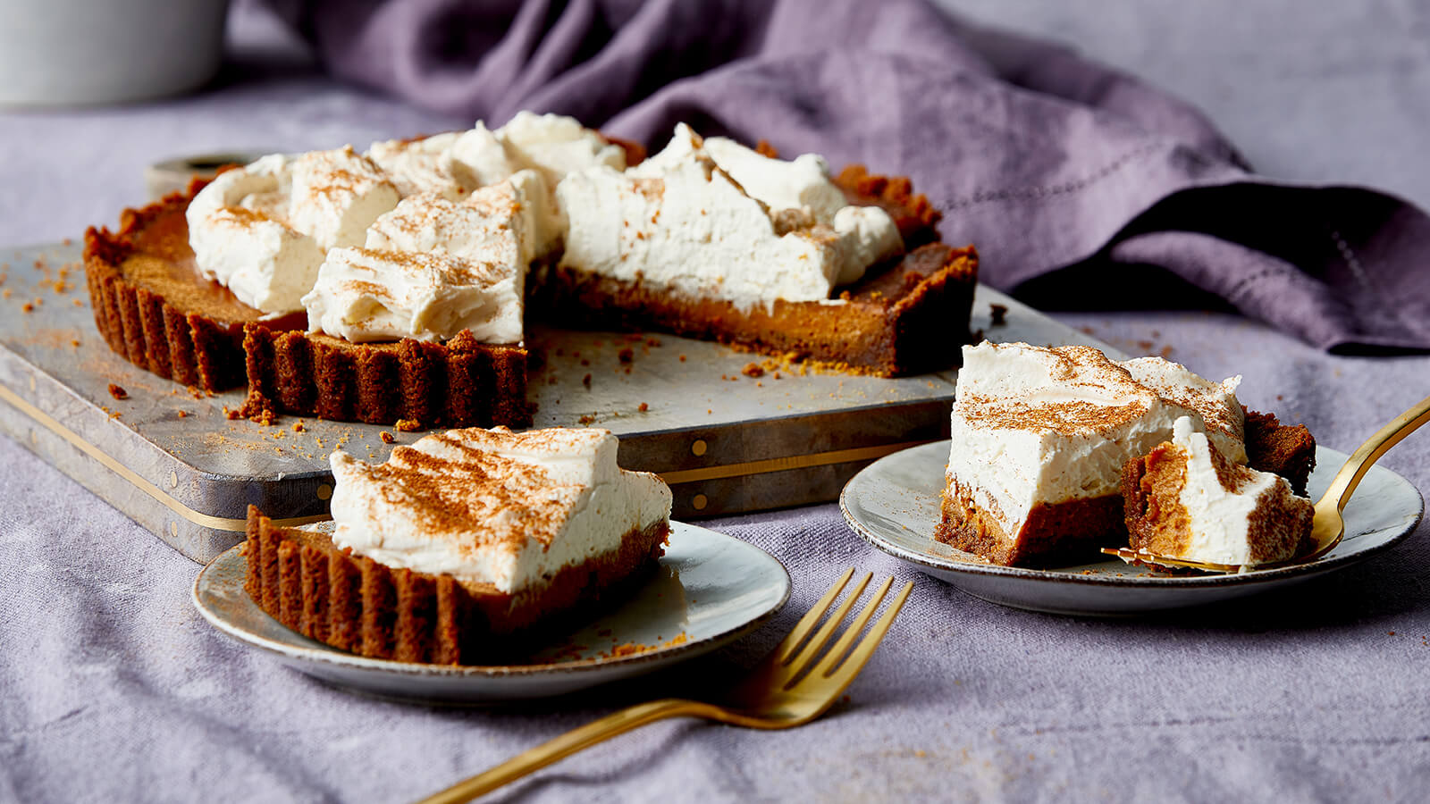 Pumpkin Custard Tart with Maple-Mascarpone Whipped Cream
