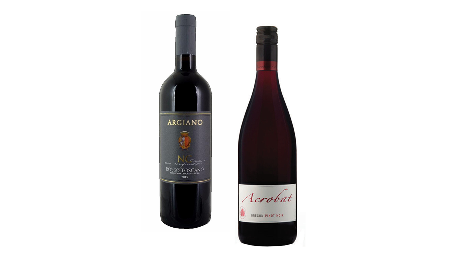 Toscano and Pinot Noir bottles