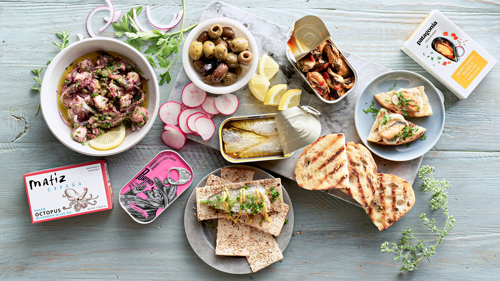 tinned seafood entertaining spread