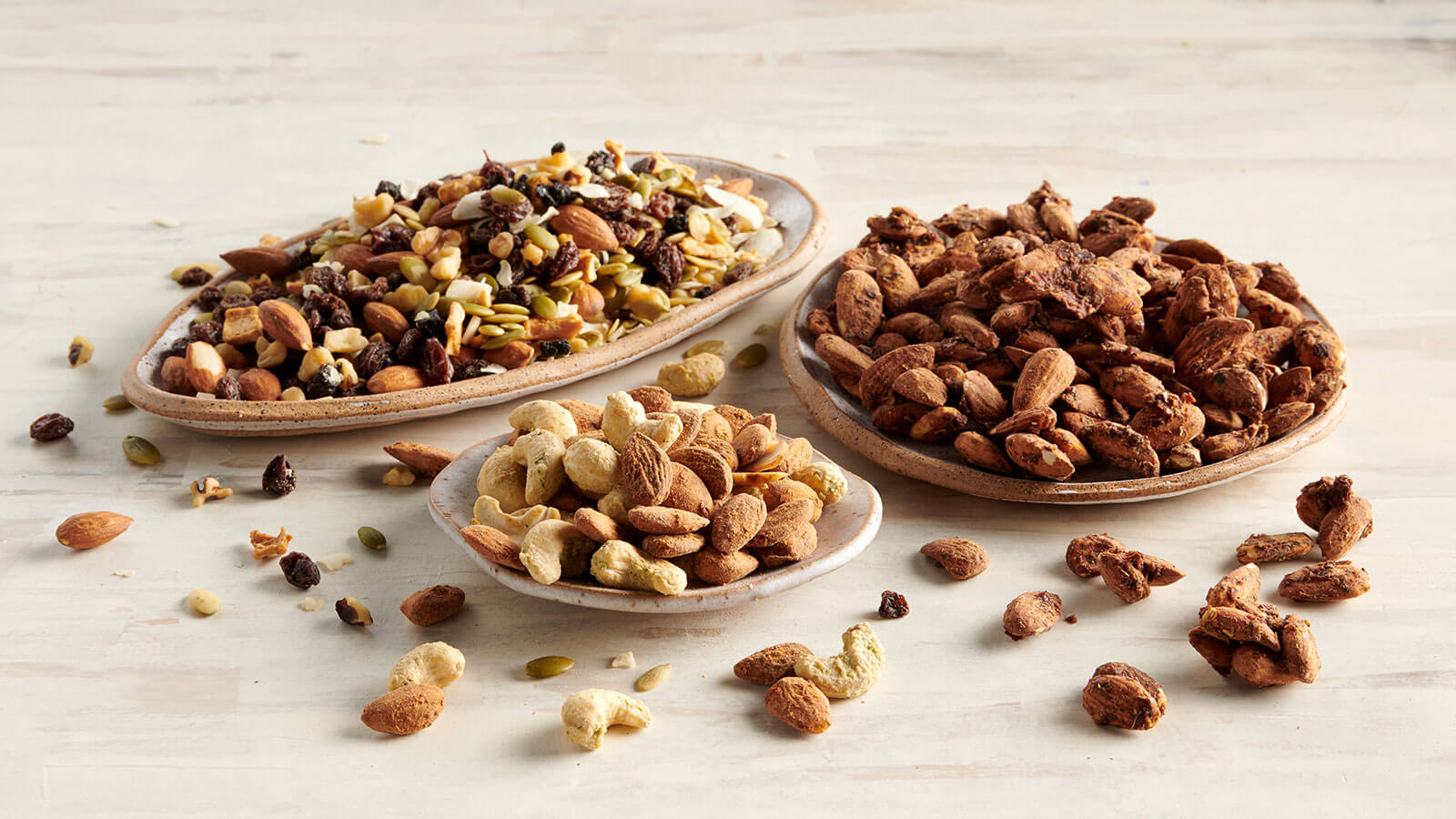 Paleo Trail Mix, Buffalo Almonds with Ranch Cashews, Sprouted pizza almonds