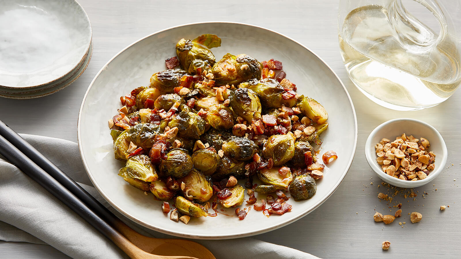 Date-Glazed Brussels Sprouts with Pancetta and Hazelnuts