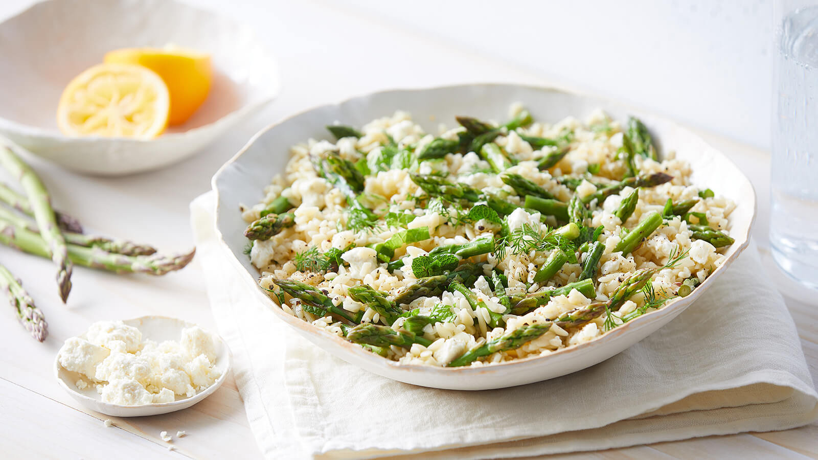 Lemon Herb Orzo with Asparagus and Feta