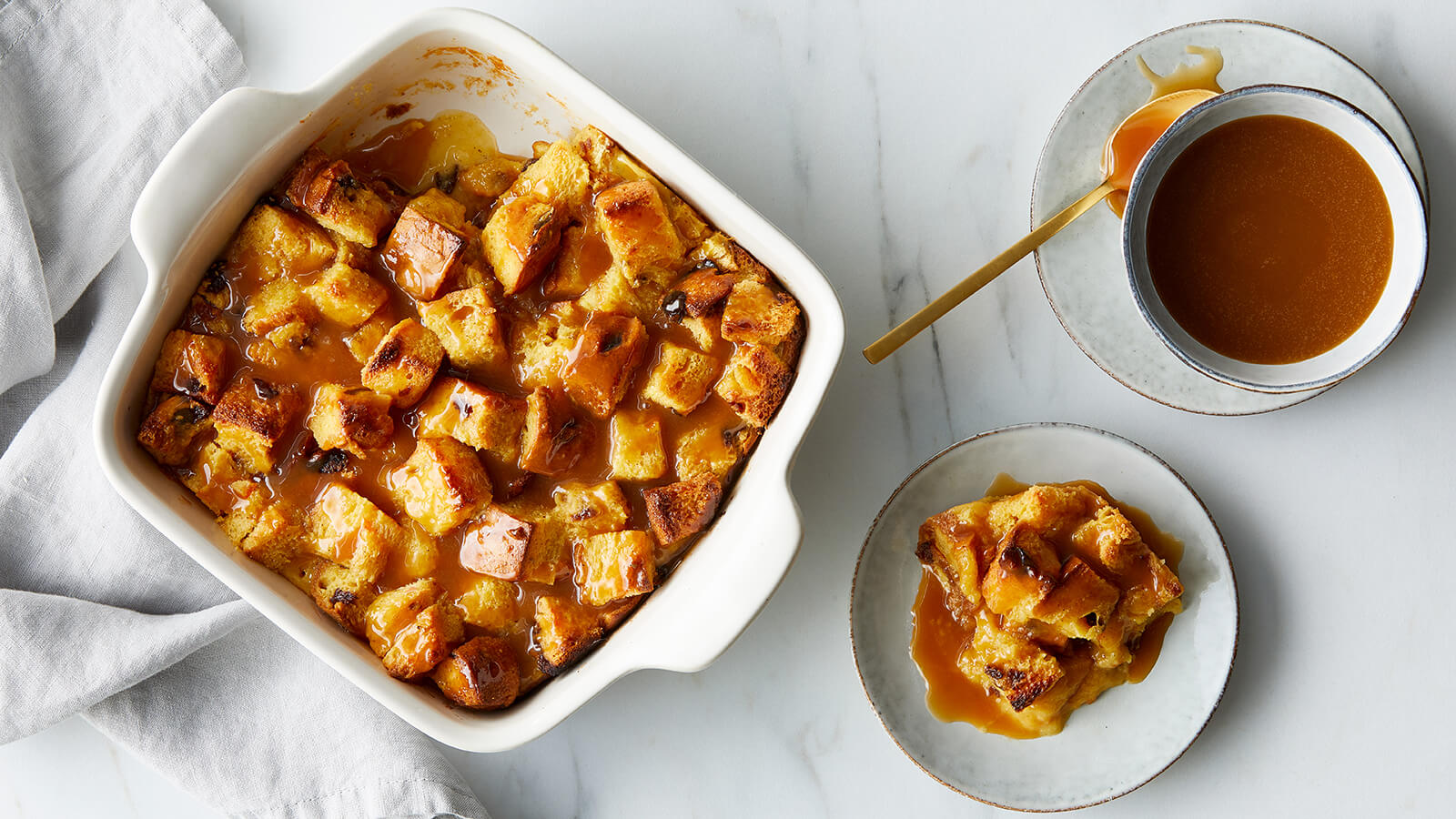Eggnog and Panettone Bread Pudding with Amaretto Caramel Sauce