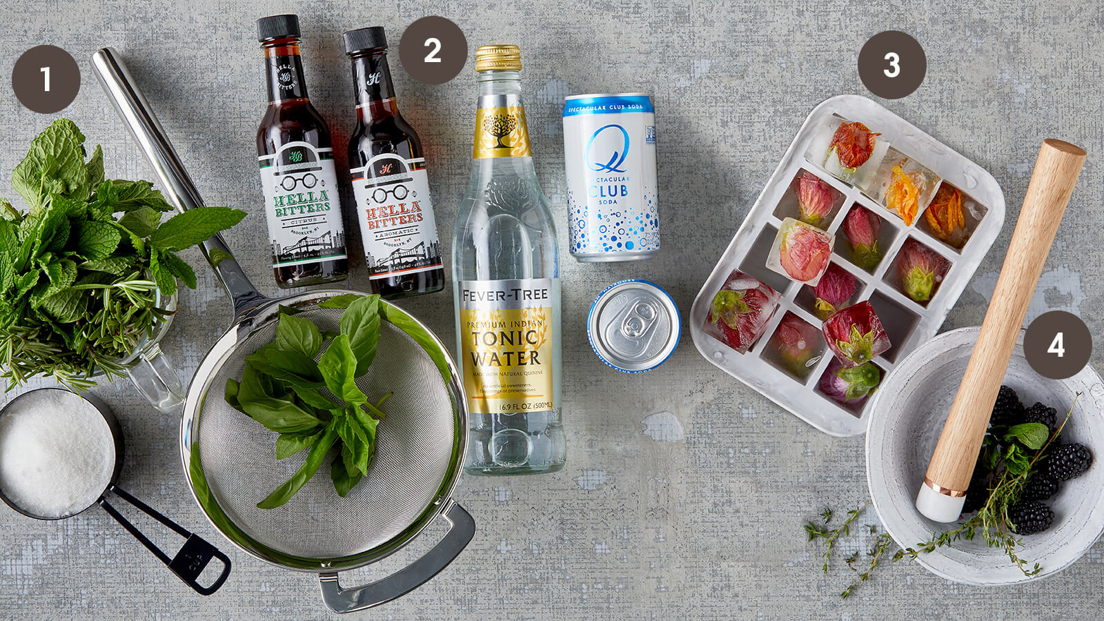 Upgrade Your Cocktail with herbs, bitters, ice and muddled fruit