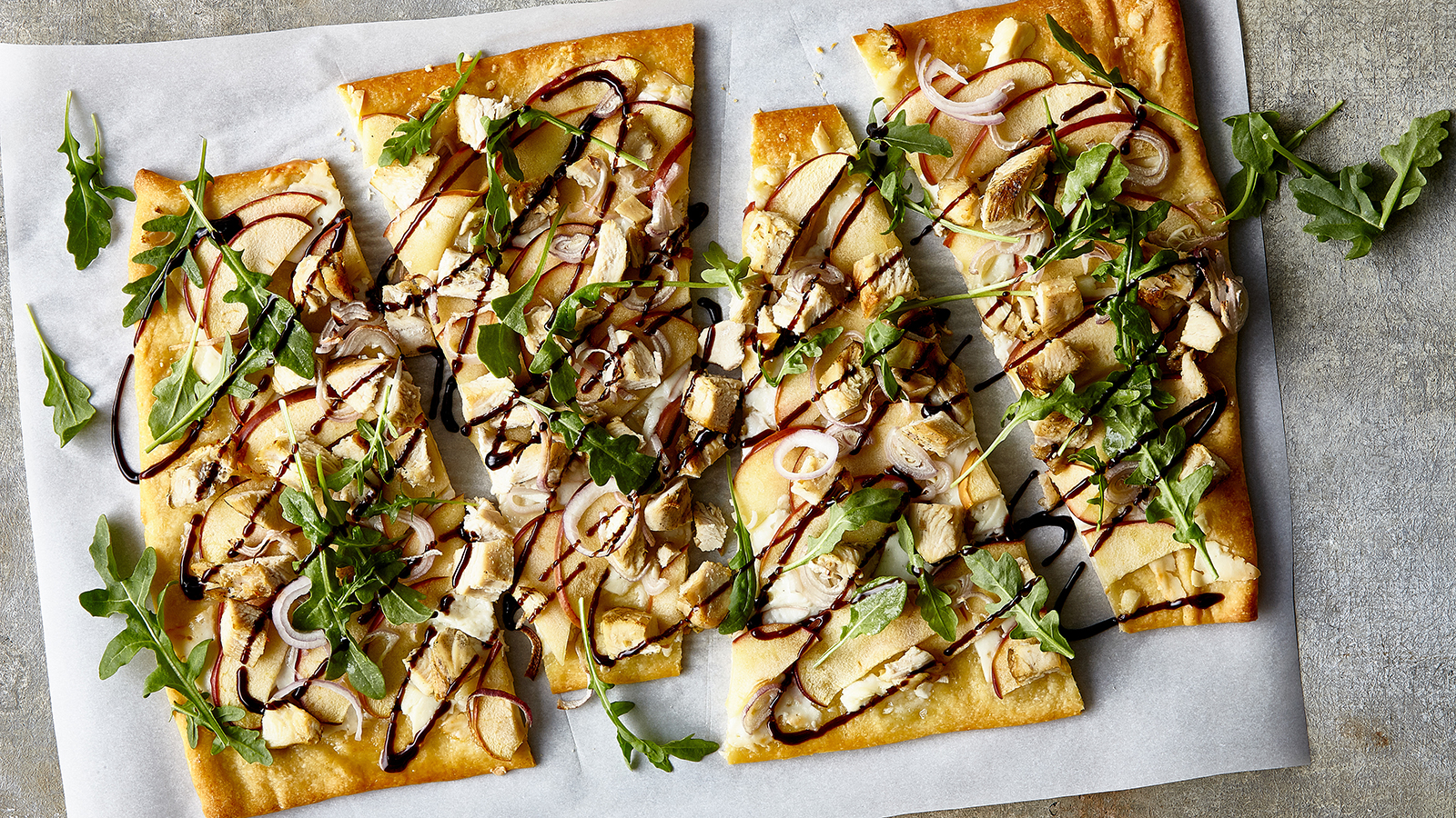 Crisp Apple, Spanish Goat Cheese and Grilled Chicken Flatbread