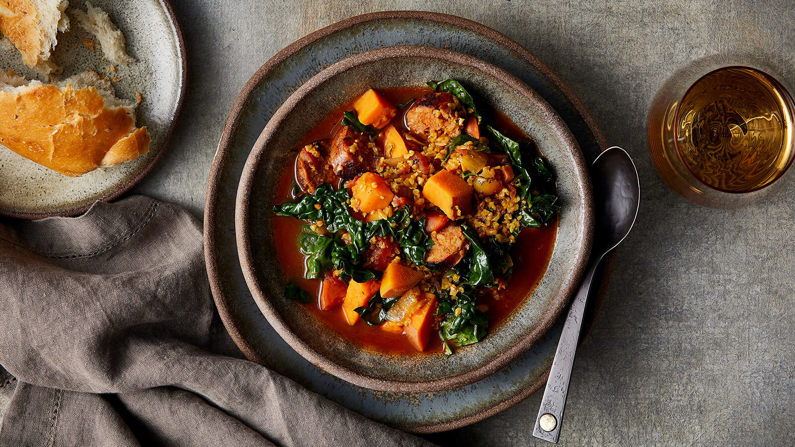 Sweet Potato, Kale & Chorizo Stew