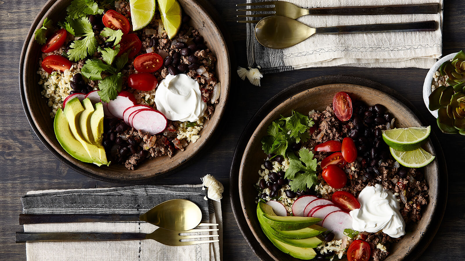 Beef Burrito Bowl with Cilantro Cauliflower Rice