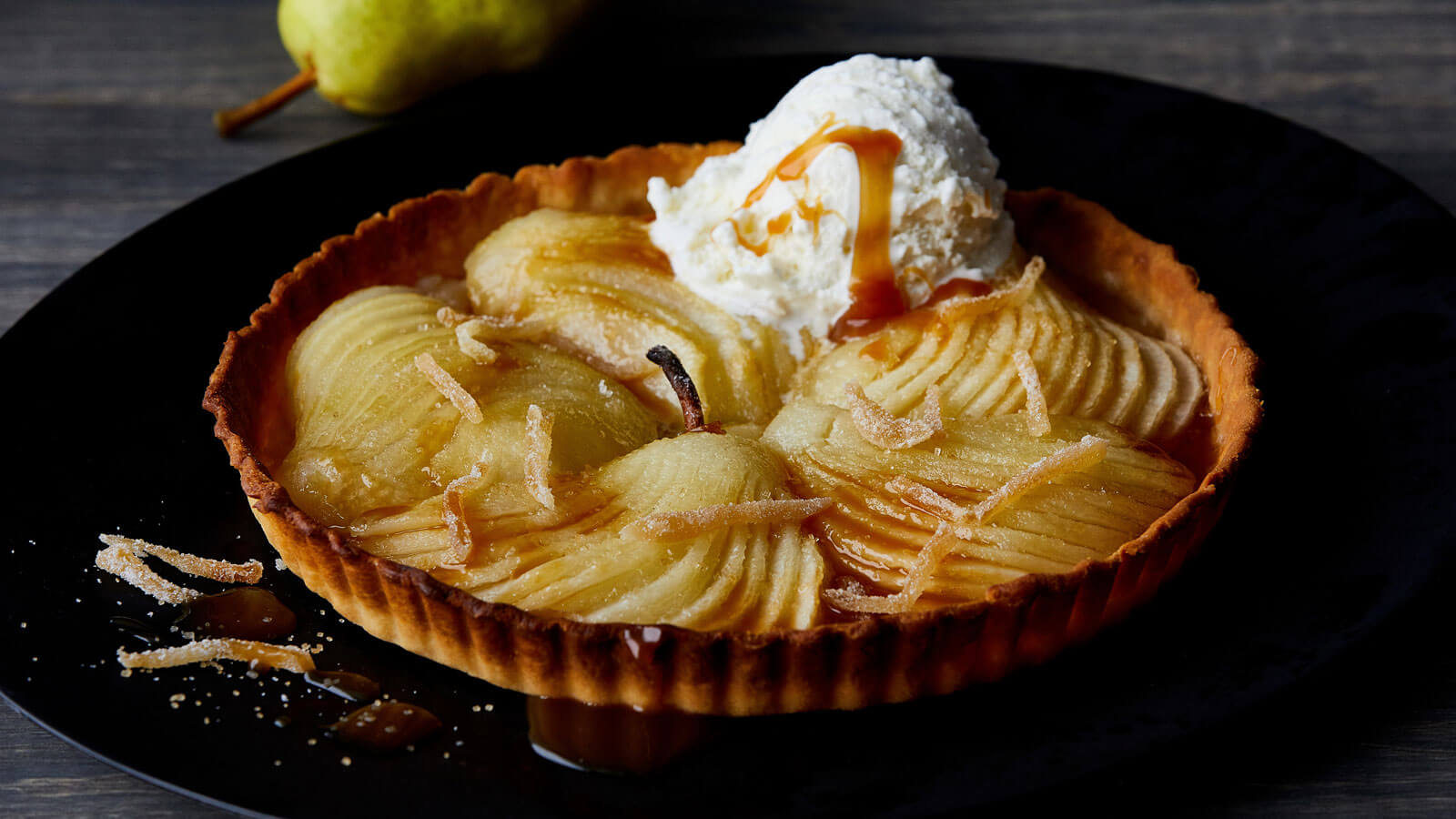 Comice Pear and Caramel Tart