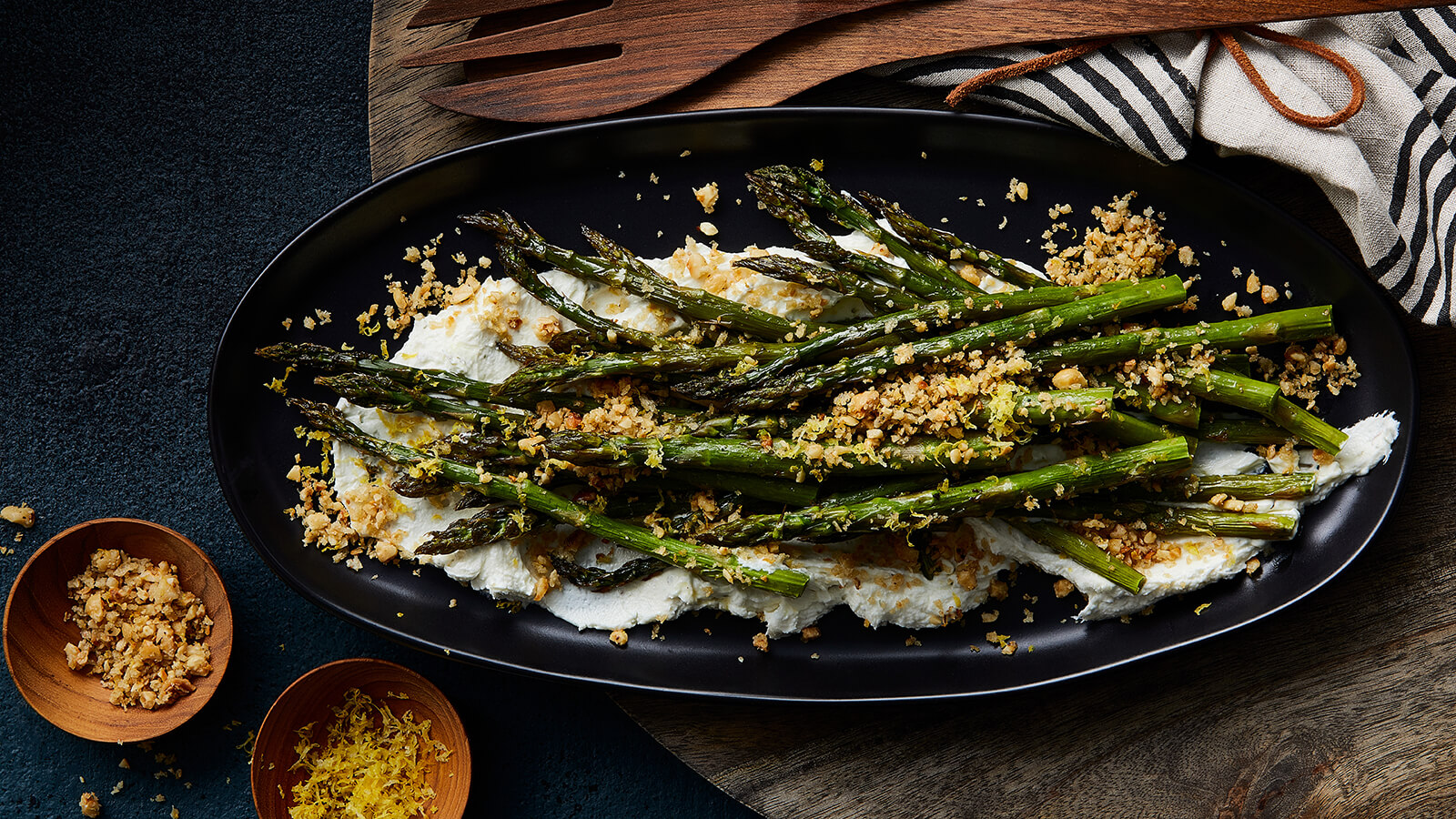 Roasted Asparagus with Goat Cheese and Hazelnuts