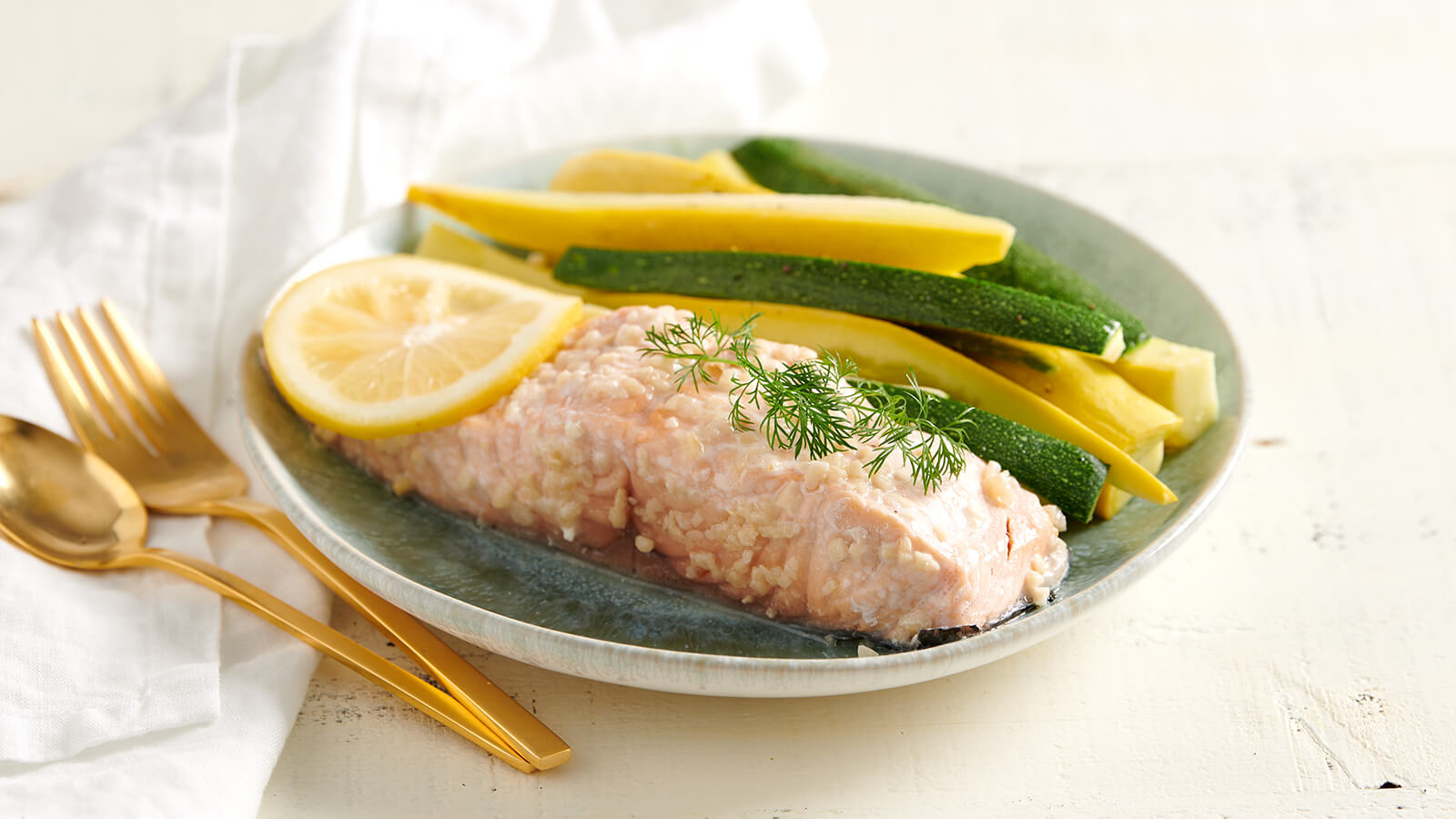 Garlic Dill Atlantic Salmon With Squash