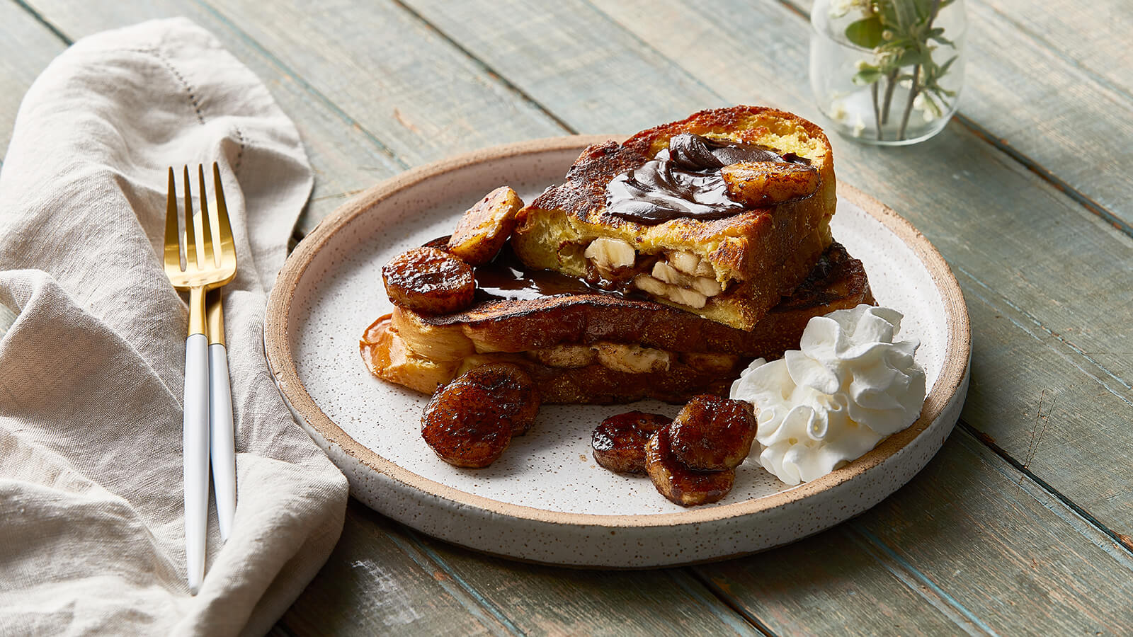 Banana Stuffed French Toast with Dark Chocolate