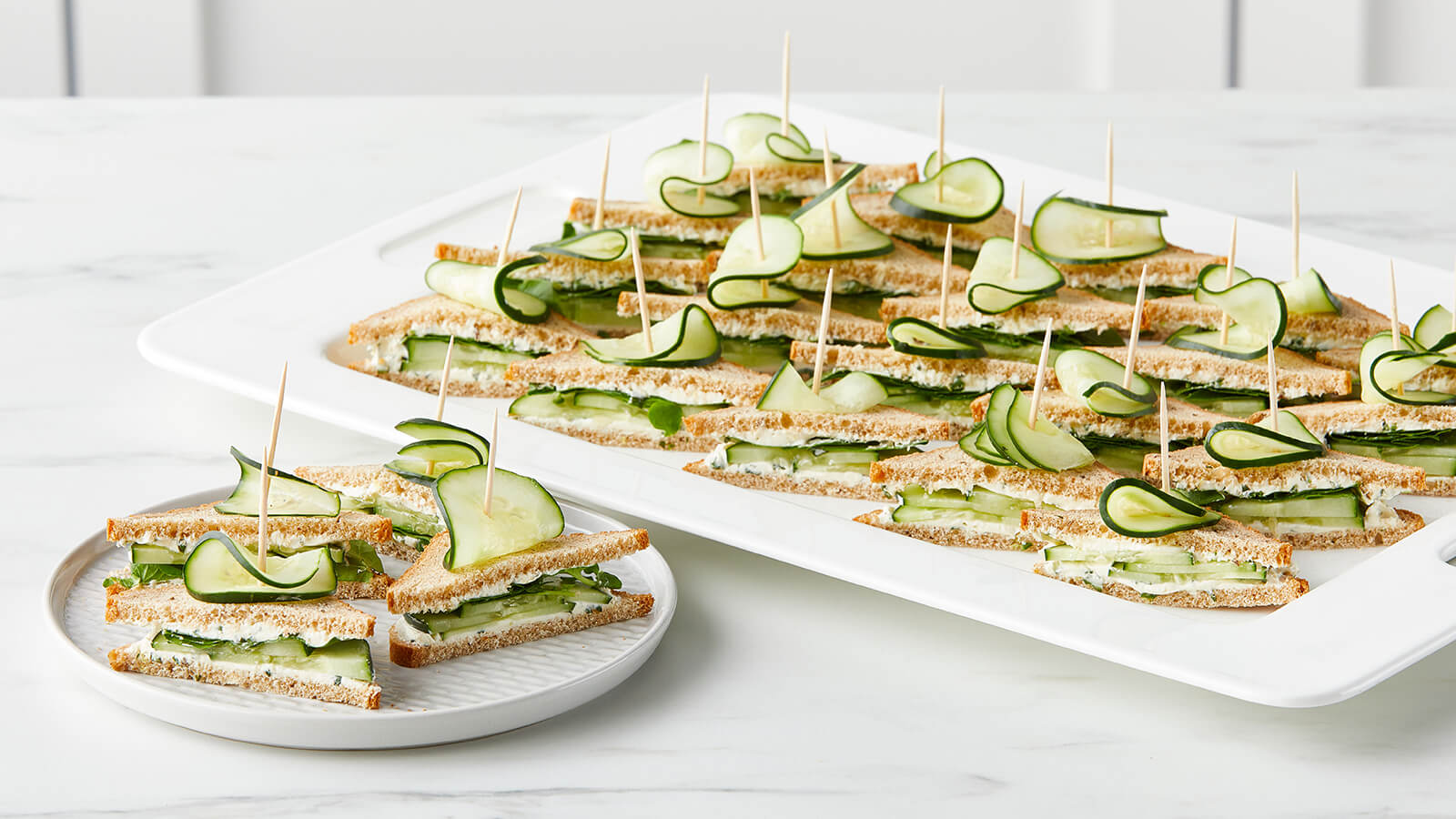 Herbed Cucumber and Greens Tea Sandwiches