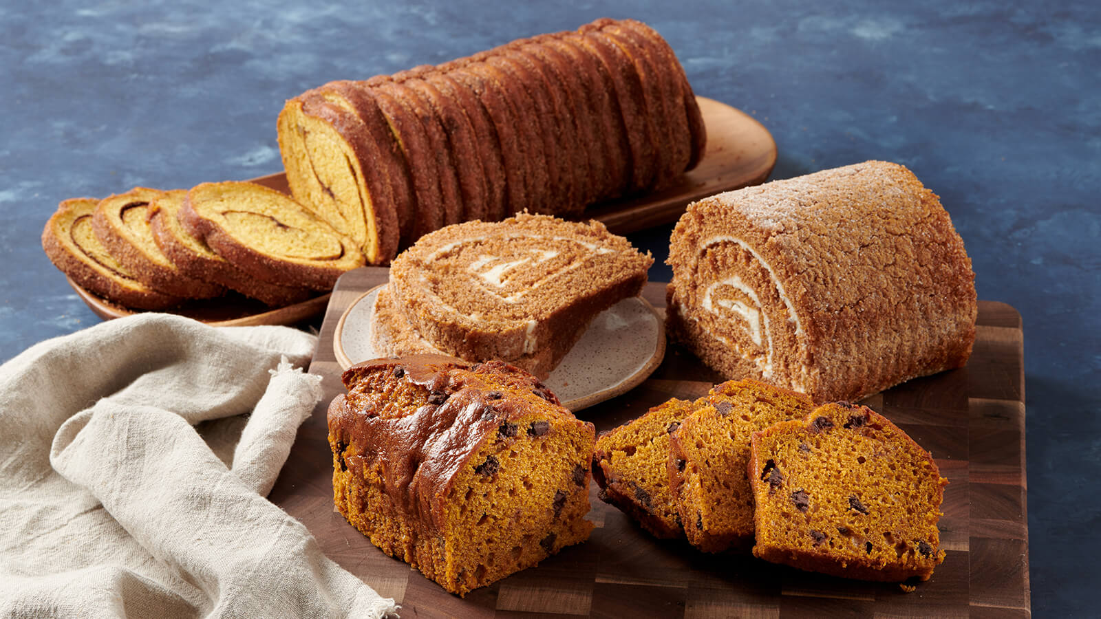 Pumpkin Chocolate Chip Pound Cake, Cake Roll, Nut Cinnamon Sweet Swirl Bread
