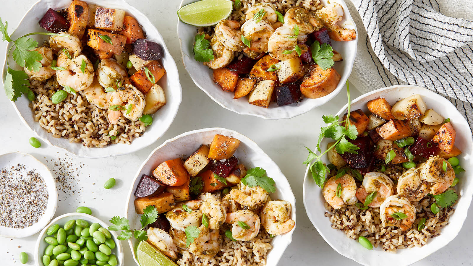 Cilantro Lime Shrimp and Root Vegetable Grain Bowls