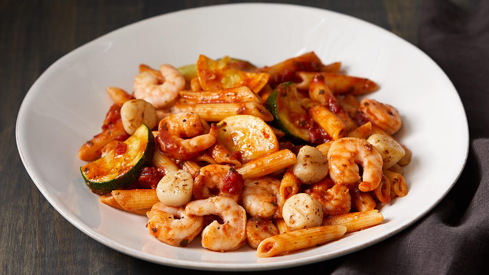 Seafood Arrabbiata with Penne Pasta and Fresh Squash