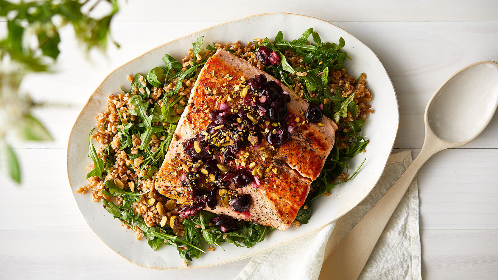 Salmon with Cherry Sauce and Farro Arugula Salad