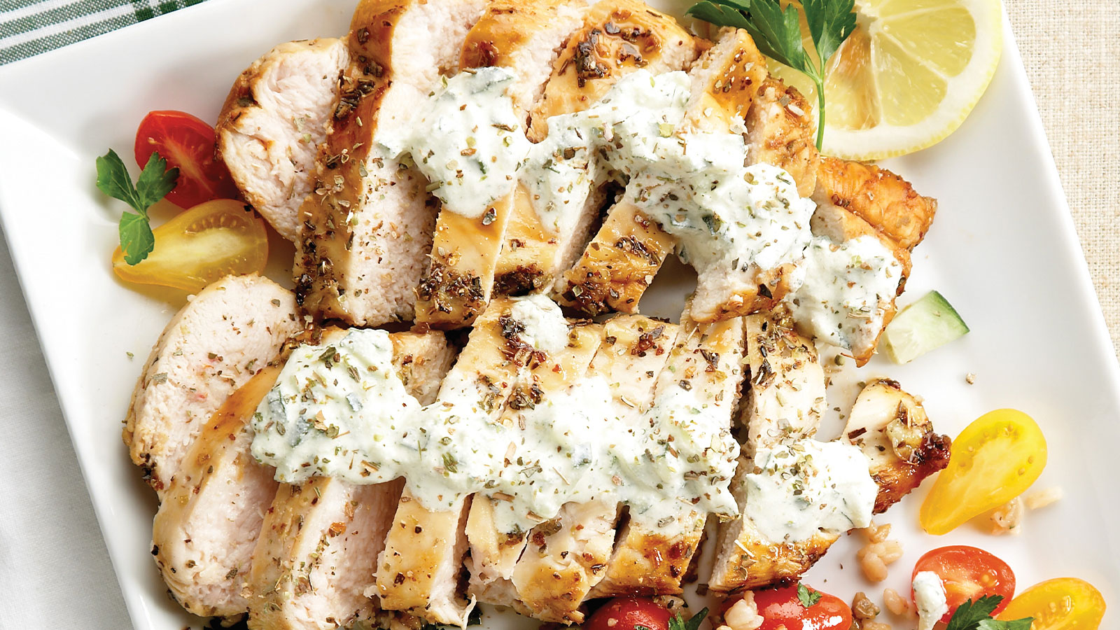 Grecian Style Chicken with Tzatziki Sauce