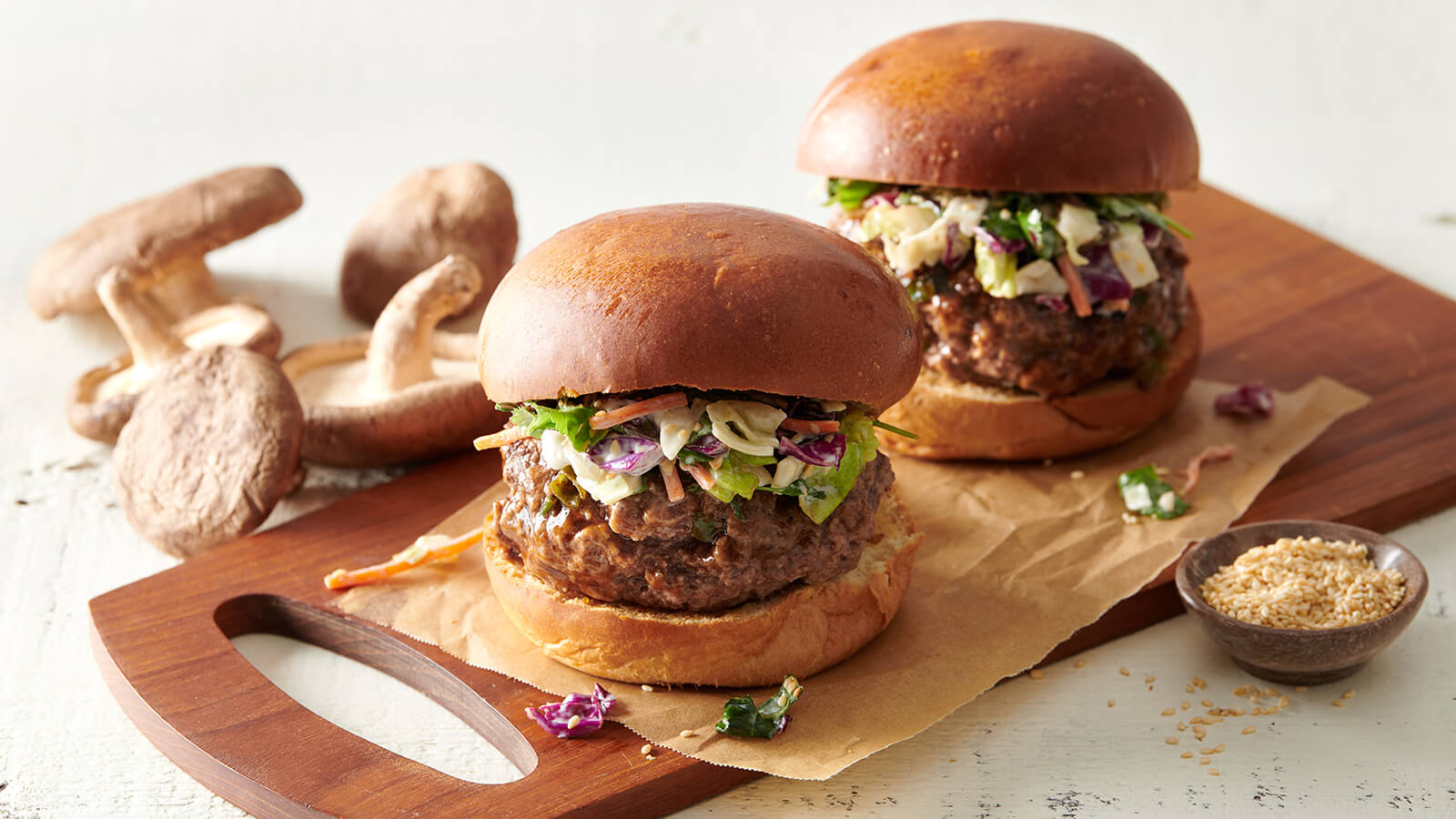 Shiitake Stuffed Burger with Asian Slaw