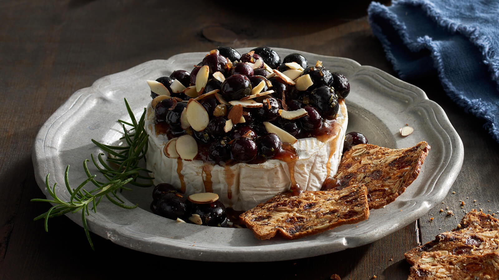 blueberry chutney over brie