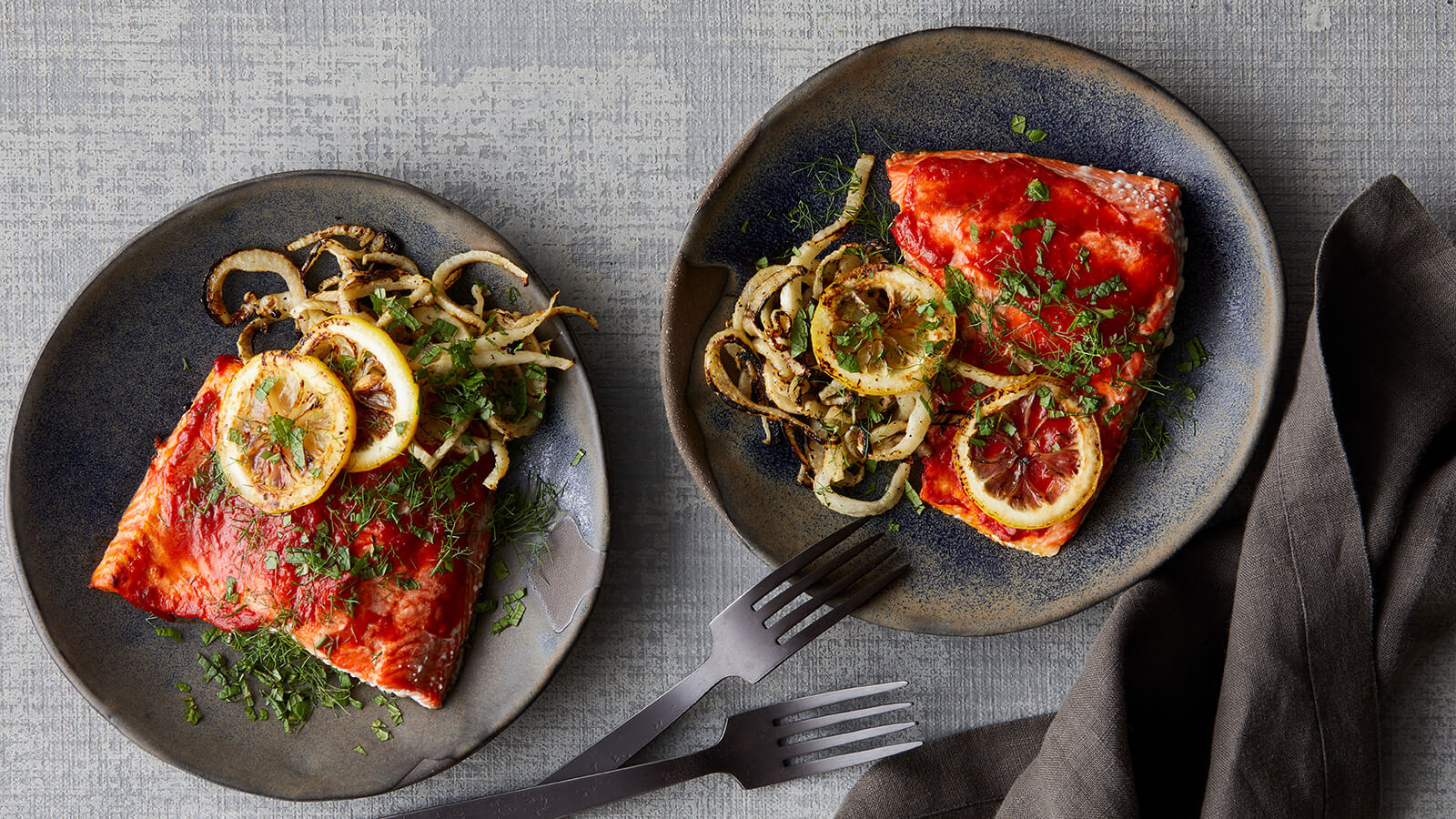 Roast Harissa Salmon with Fennel and Lemon