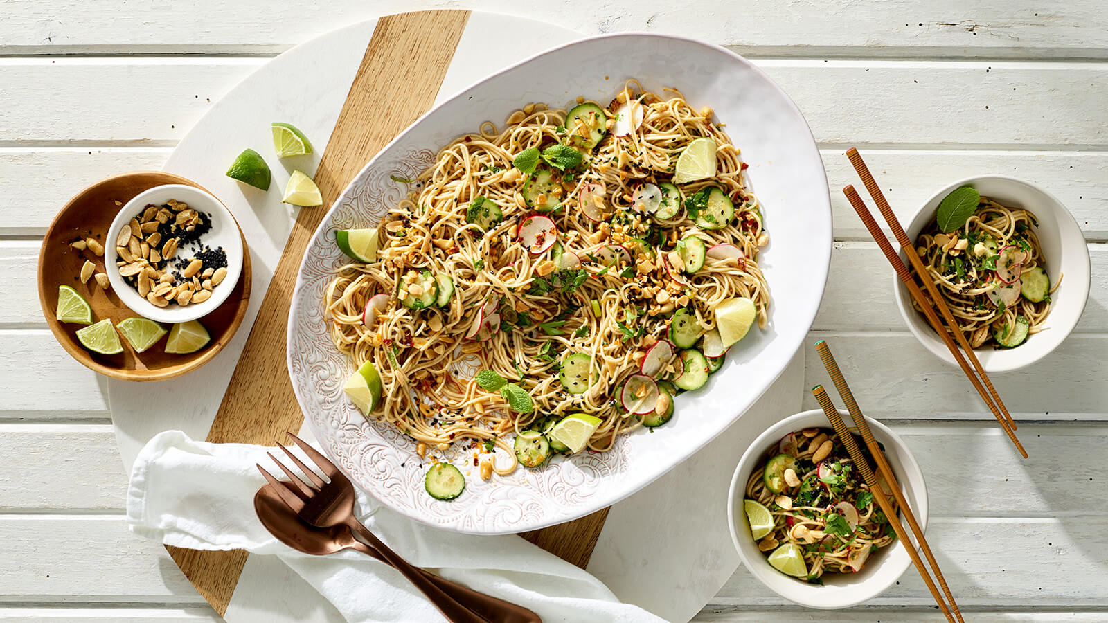 Cold Sesame Soba Noodles with Cucumber and Radish