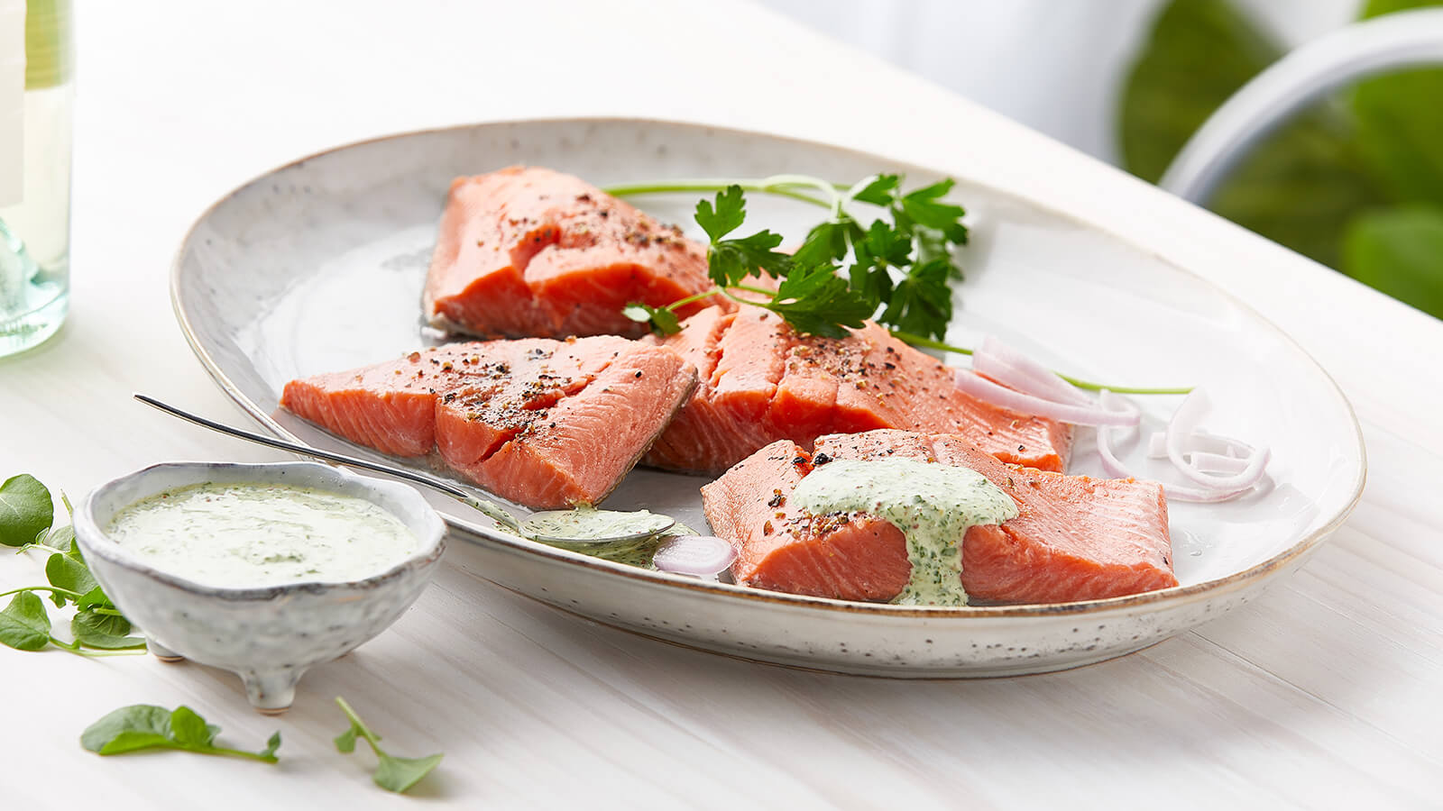 Oven-Poached Salmon Fillets with Watercress Mayonnaise