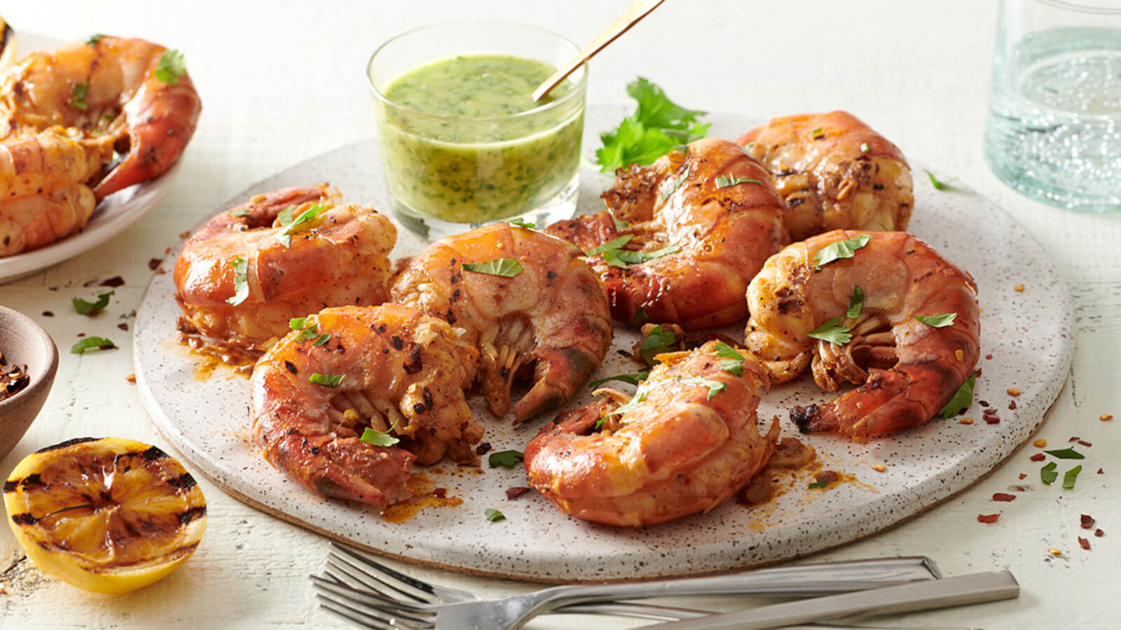 Grilled Colossal Shrimp with Lemon Garlic Herb Butter