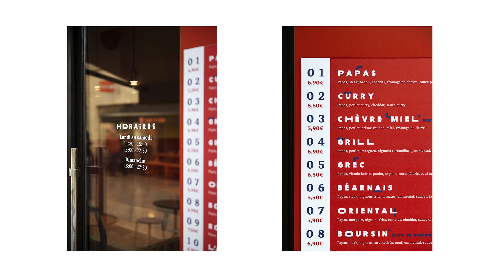 Papas Tacos - restaurant - Bordeaux - identity - exterior menu