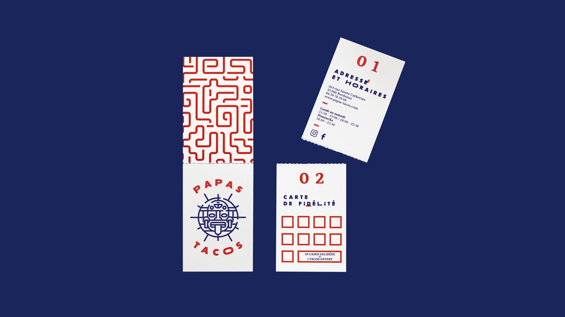 Papas Tacos - restaurant - Bordeaux - identity - visit card - fidelity card - fold - detachable