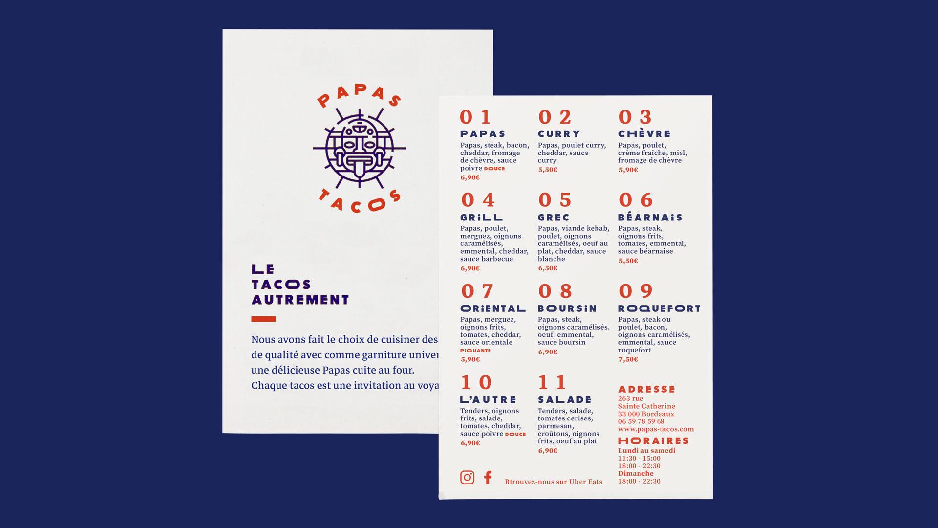 Papas tacos - restaurant - Bordeaux - identity - graphic - flyer - menu