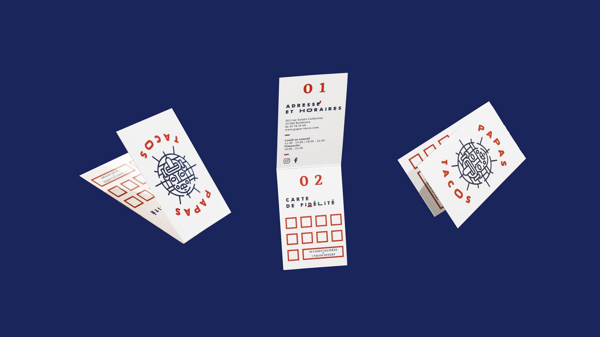 Papas Tacos - restaurant - Bordeau - identity - visit card - fidelity card - pliable - detachable