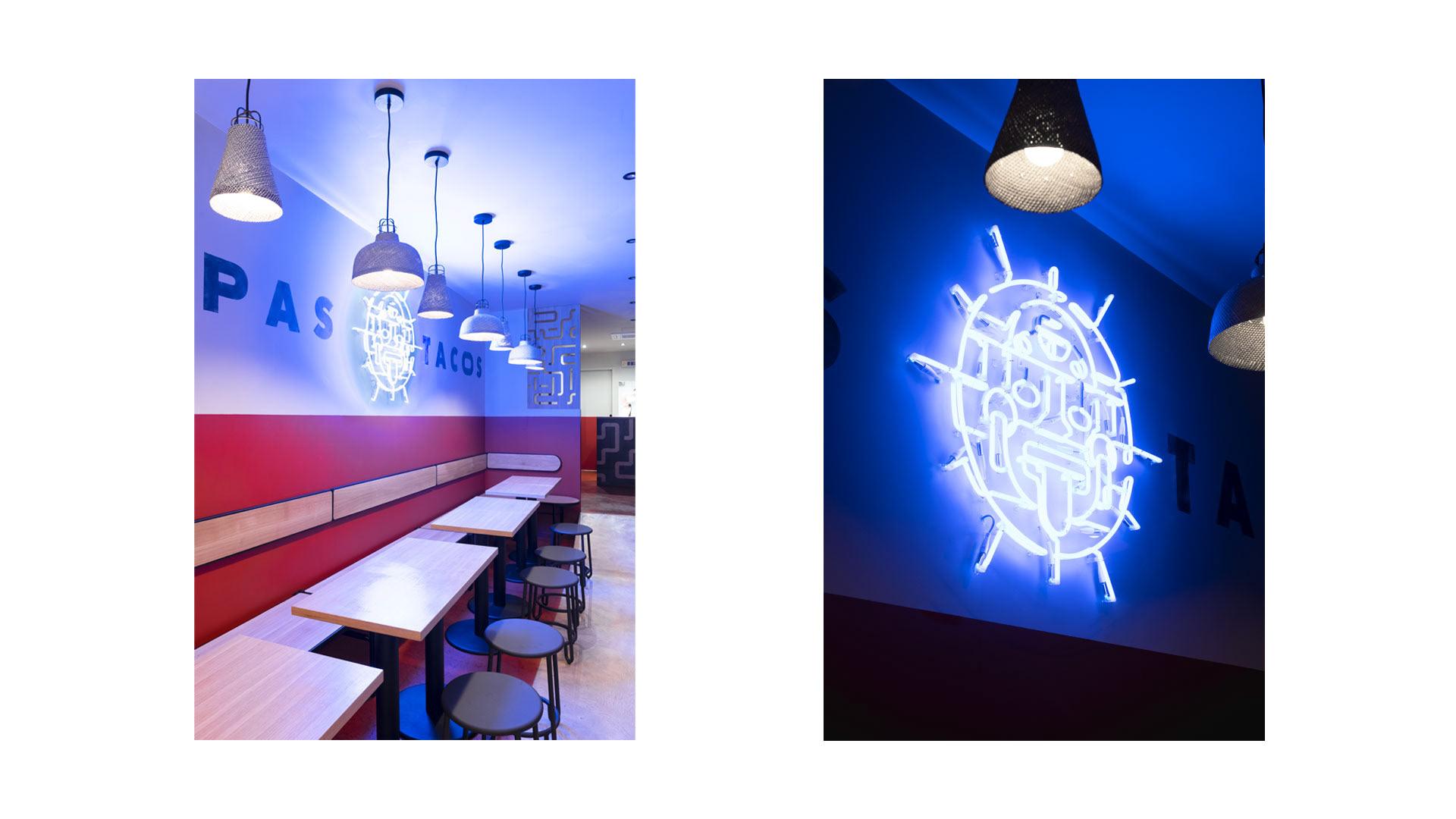 Tailor made neon sign for Papas Tacos Bordeaux restaurant