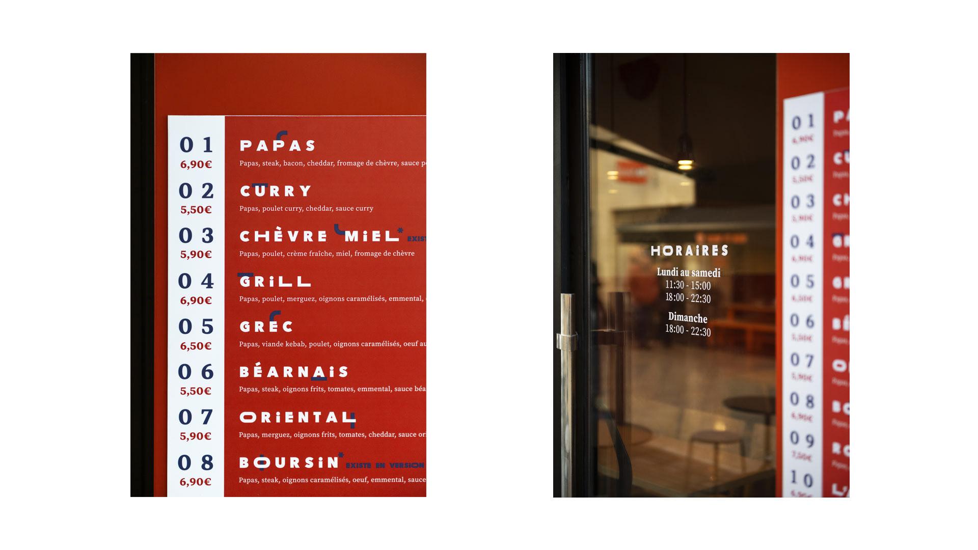 Detail of Bordeaux restaurant Papas Tacos exterior menu