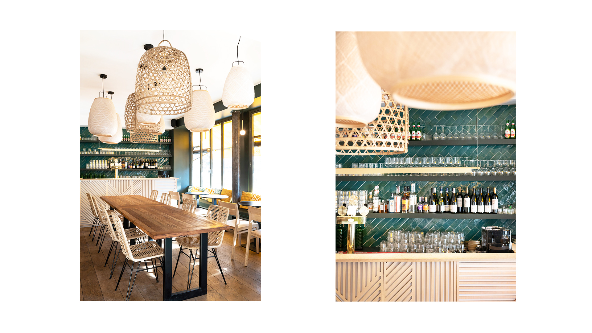 Djawa - restaurant - interior architecture - Paris - counter - bar - wood - faience