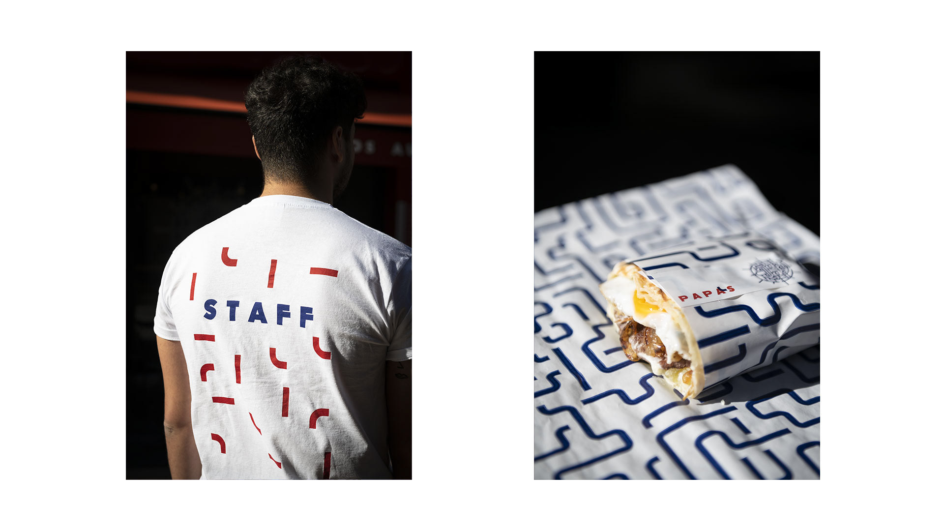 Tailor made t-shirt and packaging for Papas Tacos restaurant in Bordeaux