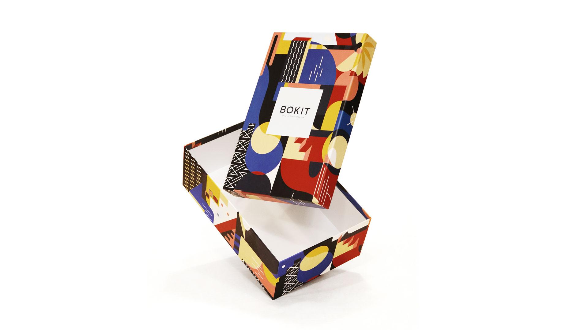 Le studio hekla réalise une boite à chaussure au pattern personnalisé pour la marque de chaussure bordelaise Bokit