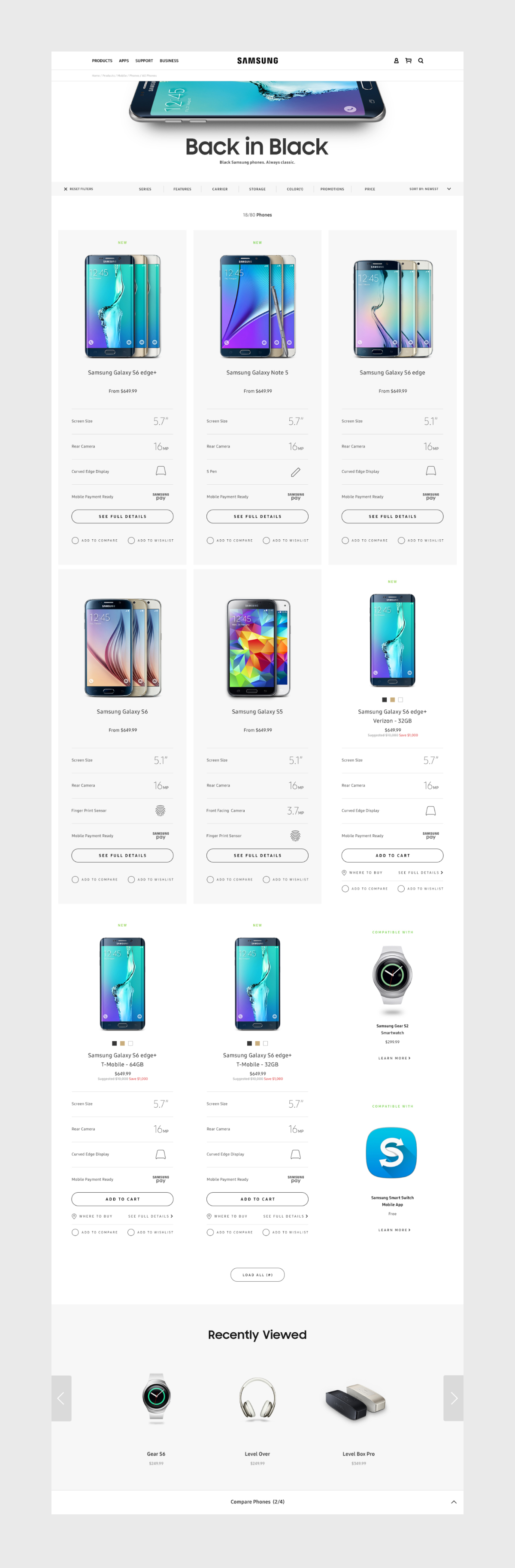Dotcom Product Finder Page