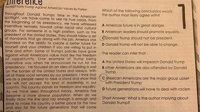 Texas Teacher Assigns Anti-Trump Essay as Class Homework